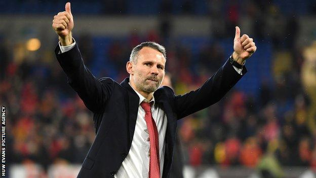 Ryan Giggs celebrates after victory over Hungary in November 2019 booked Wales' place at the third major finals in their history