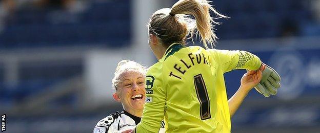 Laura Bassett (l) and goalkeeper Carly Telford
