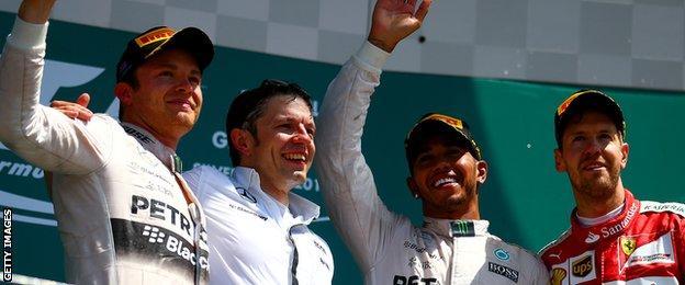 Lewis Hamilton, Nico Rosberg and Sebastian Vettell on the podium after British GP