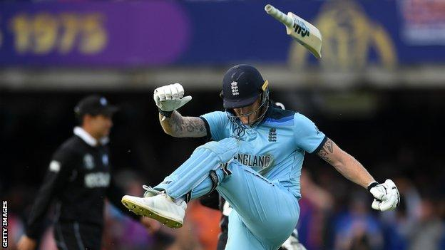 England's Ben Stokes kicks his bat in the air after failing to win the Cricket World Cup final in regulation
