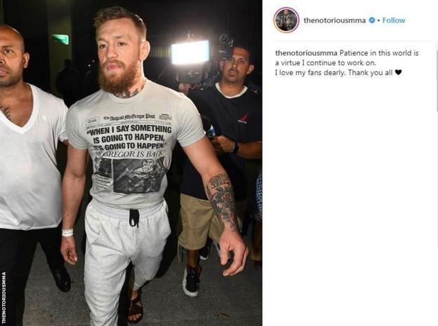 Conor McGregor's Instagram post