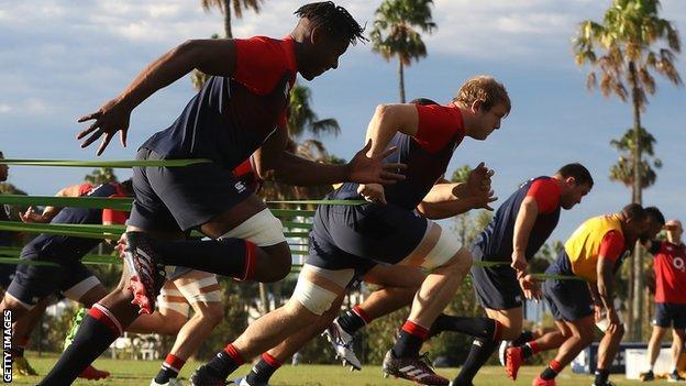 Maro Itoje in England training on the Gold Coast on Monday