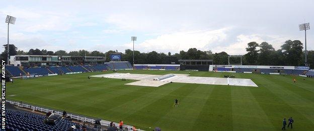 Rain at the SSE Swalec Stadium