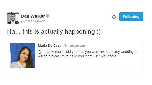 Dan Walker and Brazilian Maria De Cezar