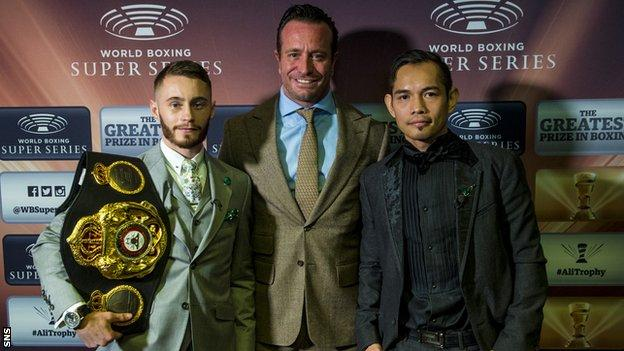 Ryan Burnett (left) and Nonito Donaire (right) alongside World Boxing Super Series chief Kalle Saulerland in Glasgow on Wednesday