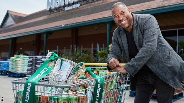 John Barnes with the Carabao Cup