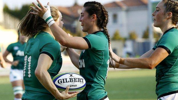 Beibhinn Parsons celebrates her try in Monday's opening qualifier in Parma