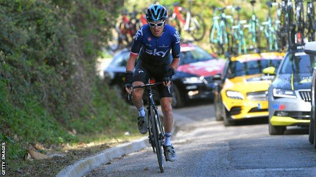 Team Sky rider Geraint Thomas on a climb during the Tirreno-Adriatico stage race