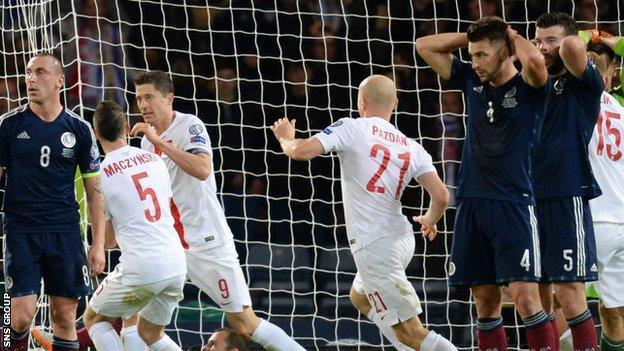 Poland celebrate their stoppage-time equaliser against Scotland at Hampden
