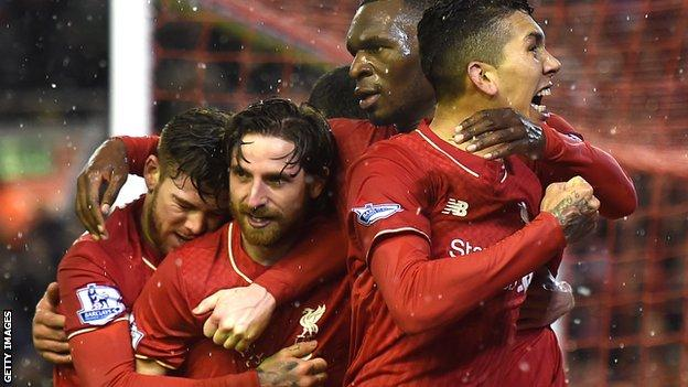 Joe Allen (second left) celebrates his equaliser in Liverpool's 3-3 draw with Arsenal in January 2016