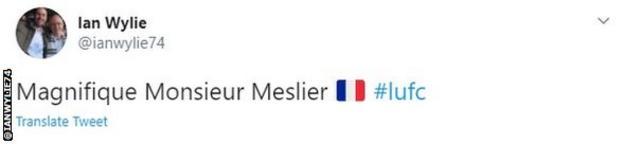 "A tweet describing Meslier as ""magnifique Monsieur Meslier"""