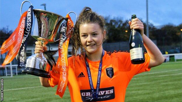 Glasgow City's Clare Shine celebrate with the Scottish Women's Cup