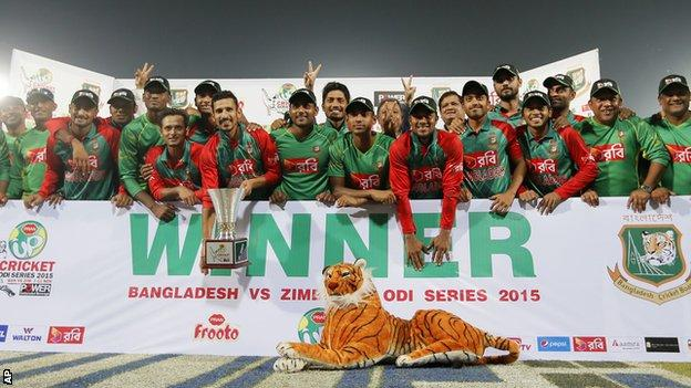 Bangladesh with the ODI series trophy