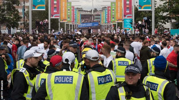 Police officers on duty outside Wembley before the Euro 2020 final between England and Italy