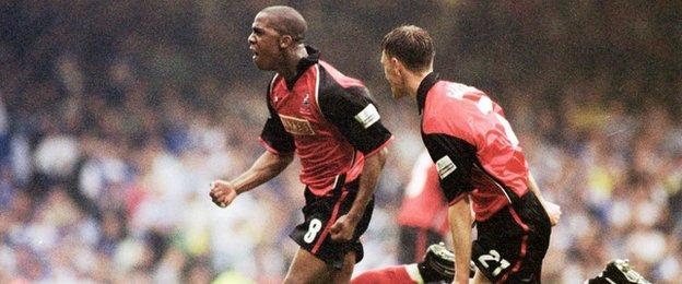 Walsall's Darren Byfield celebrates his promotion-winning strike against Reading in the 2001 Division Two play-off final with team-mate Matthew Gadsby