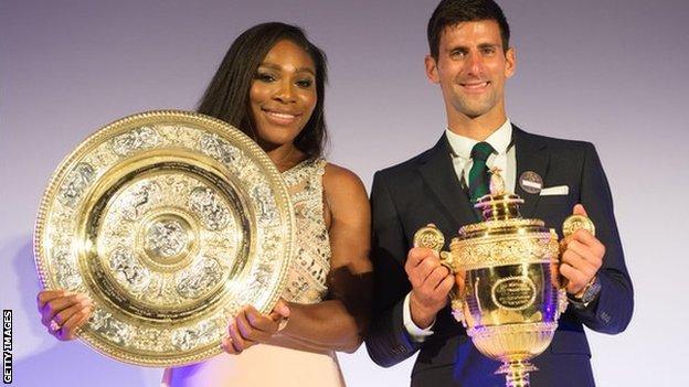Serena Williams (left) and Novak Djokovic