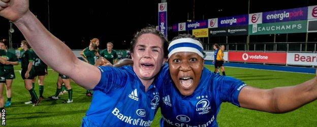 Jennie Finlay and Linda Djougang celebrate