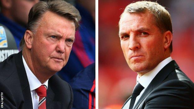 Manchester United manager Louis van Gaal and Liverpool boss Brendan Rodgers