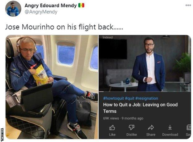 Split screen: Left: Mourinho watches film on plane, right: an instructional YouTube video on leaving jobs