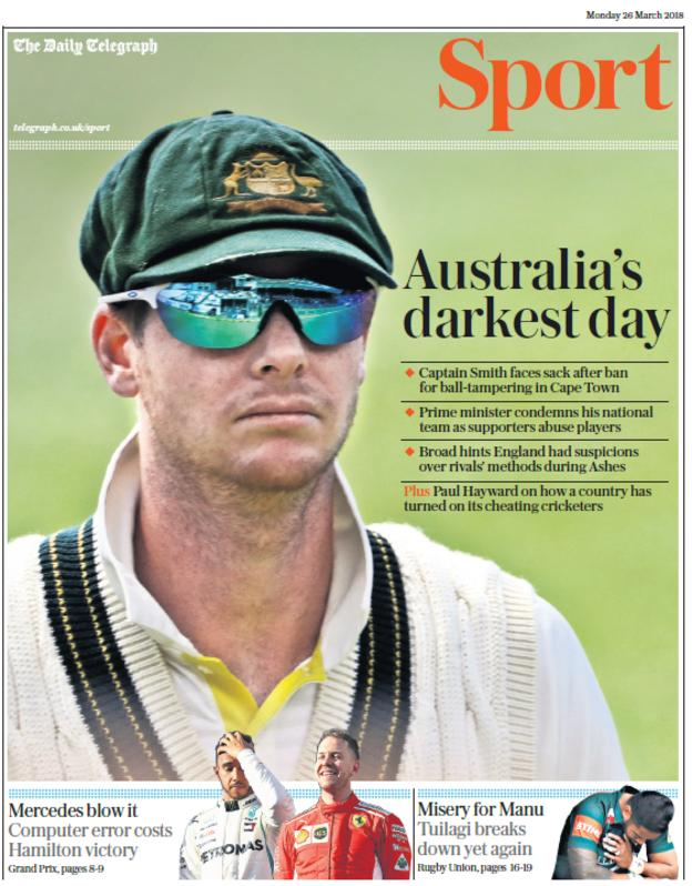 Telegraph sport section on Monday