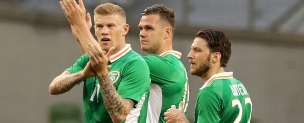 James McClean, Callum O'Dowda and Harry Arter (right) applaud the Irish fans after Sunday's 3-1 win over Uruguay at the Aviva Stadium