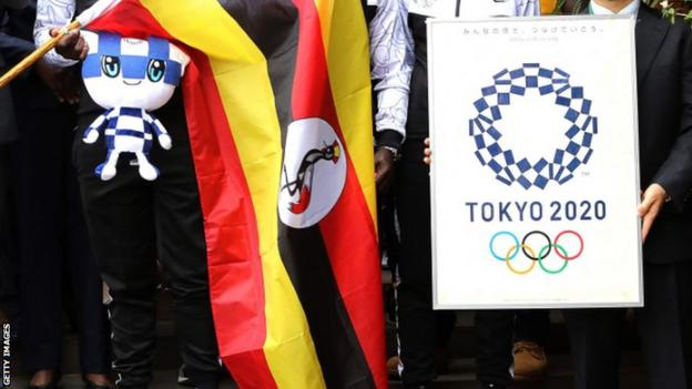 The Ugandan flag alongside the Tokyo 2020 Olympics logo