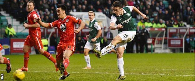 John McGinn scores for Hibernian against St Mirren