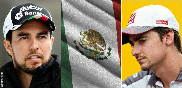 Sergio Perez, Mexico flag & Esteban Gutierrez