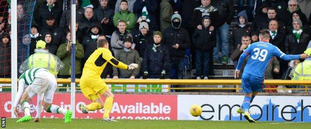 Miles Storey scores for Inverness Caledonian Thistle against Celtic