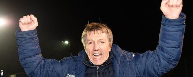 East Kilbride manager Billy Ogilvie celebrates