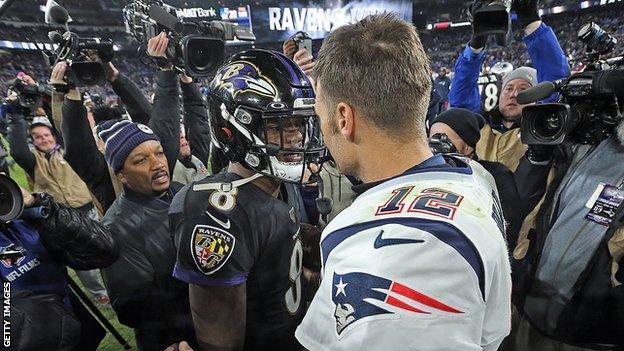 Lamar Jackson and Tom Brady