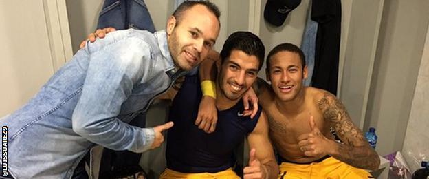 Andreas Iniesta, Luis Suarez and Neymar celebrates Barcelona's win over Getafe