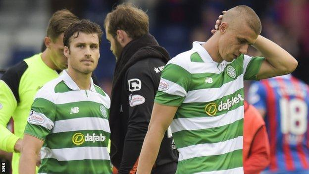 Erik Sviatchenko and Jozo Simunovic trudge off after the 2-2 draw with Inverness last September