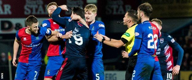A scrap between Ross County and Inverness players