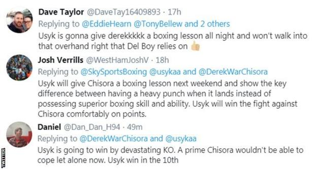 Boxing fans on Twitter predict Usyk v Chisora. One fan says Usyk will give Derek a boxing lesson, while another predicts a knockout victory for the Ukrainian