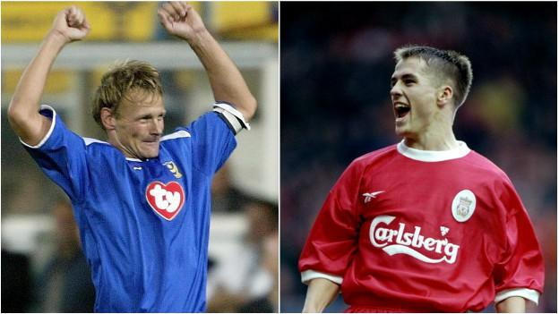 Teddy Sheringham (left) and Michael Owen (right)