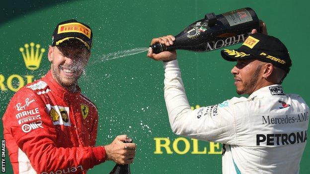 Sebastian Vettel and Lewis Hamilton spray champagne at the Hungarian GP