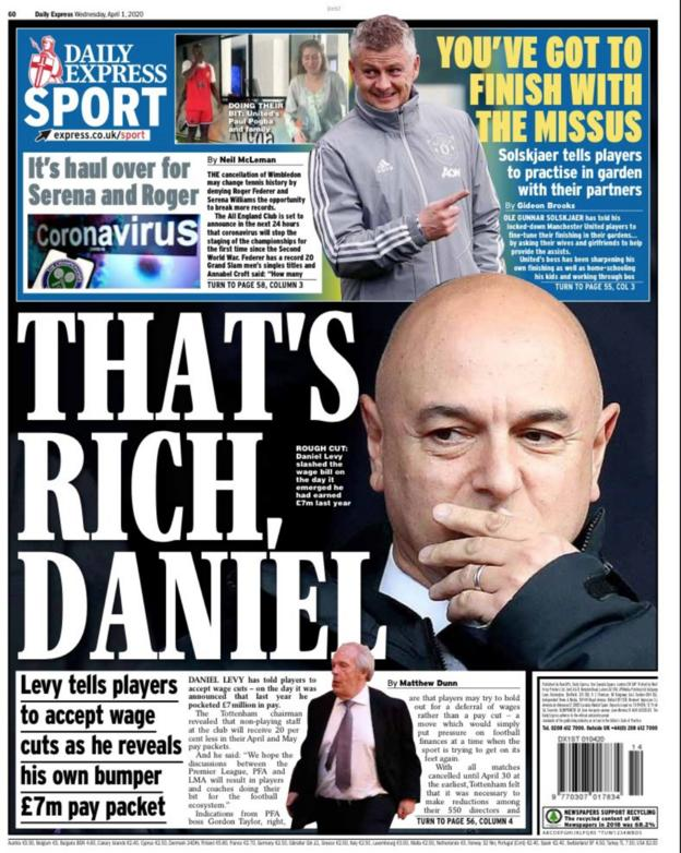 Express back page for Wednesday, 1 April 2020