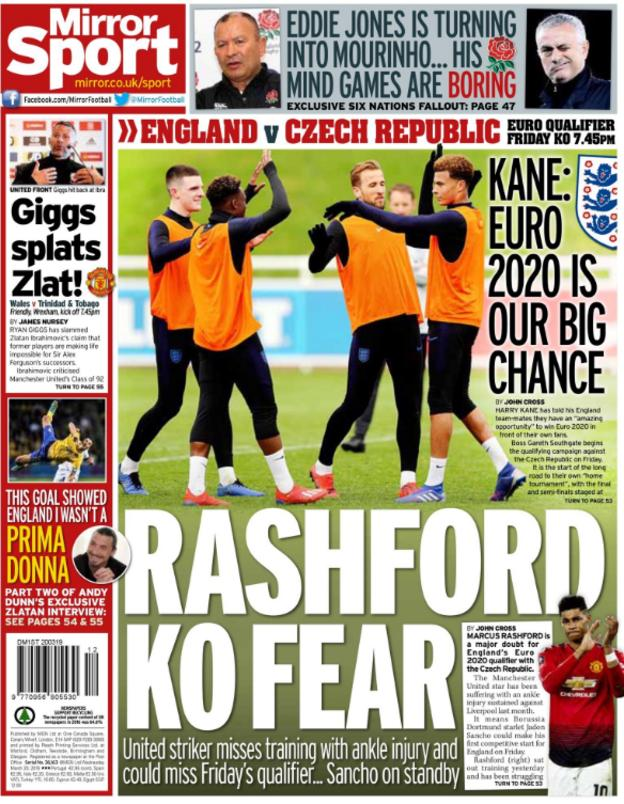 The Mirror lead on Marcus Rashford saying England hold no fear going into their European Championship qualifiers
