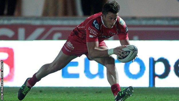 Scarlets winger DTH van der Merwe scores his first try for the region
