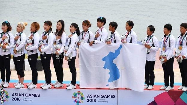 The unified Korean 500m women's dragon boating team claimed a gold medal in the 2018 Asian Games