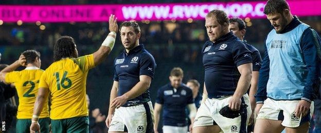 Scotland trio Greig Laidlaw, WP Nel and Ross Ford look crestfallen at the final whistle at Twickenham