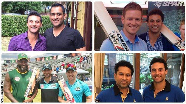 Cam Merchant with MS Dhoni, Eoin Morgan, Chris Gayle, David Warner and Sachin Tendulkar
