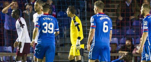 Inverness and Hearts players