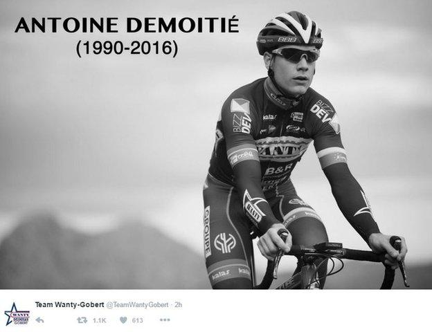 Demoitie's team, Wanty-Gobert, tweeted a black-and-white image of the rider, with his dates