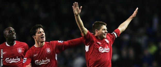 Steven Gerrard celebrates scoring for Liverpool