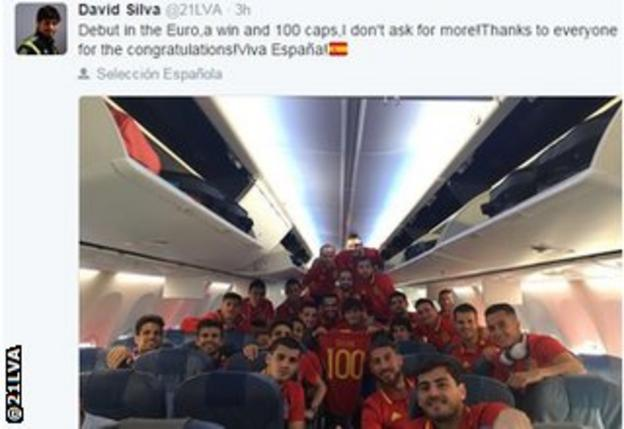 David Silva with his Spain team-mates