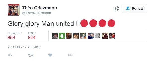 Manchester United fans excited by Griezmann tweet