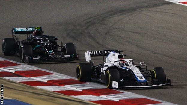 George Russell driving for Williams Racing leads Mercedes' Valtteri Bottas