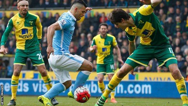 Norwich centre-back Timm Klose (right) made his team's most interceptions (5) and blocks (4) in the game